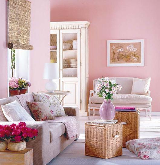 sala com sofa unico paredes rosas